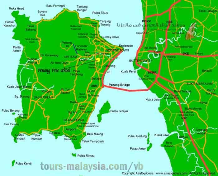 خريطة توضح مسار جسر بينانج