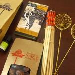 بعض المنتجات من محل بيع التوابل في حديقة التوابل في بينانج
