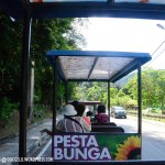 العربة المكشوفة التي تتنقل بنا في الحديقة في حديقة النباتات و الزهور في بينانج